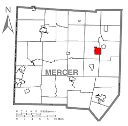 Location of Stoneboro in Mercer County