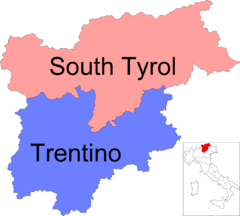 Map of region of Trentino-South Tyrol, Italy, with provinces-it.png