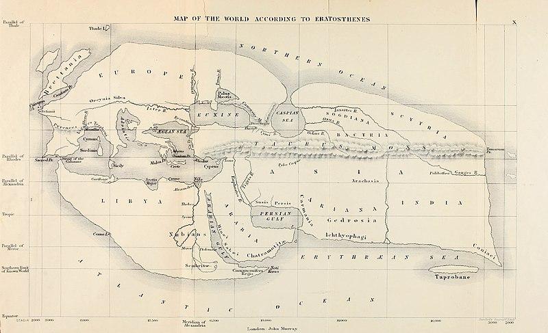 Reconstrucción del siglo XIX (según Bunbury) del mapa de Eratóstenes del mundo conocido en su época..