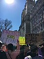 March for Our Lives 24 March 2018 in NYC 11, Protect Kids Not Guns sign, Central Park West, The San Remo, Manhattan.jpg