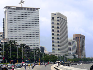 Marine Drive, Mumbai - Air India (left), Oberoi (centre) and NCPA (right) buildings at Marive Drive, Nariman Point