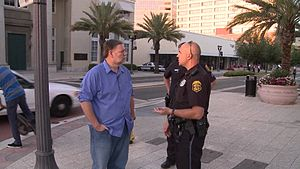 Mark Bunker - Mark Bunker talking to a police officer in Clearwater, Florida