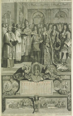 Élisabeth Charlotte d'Orléans - Proxy marriage of The Duke of Lorraine and Élisabeth Chartlotte by an unknown artist