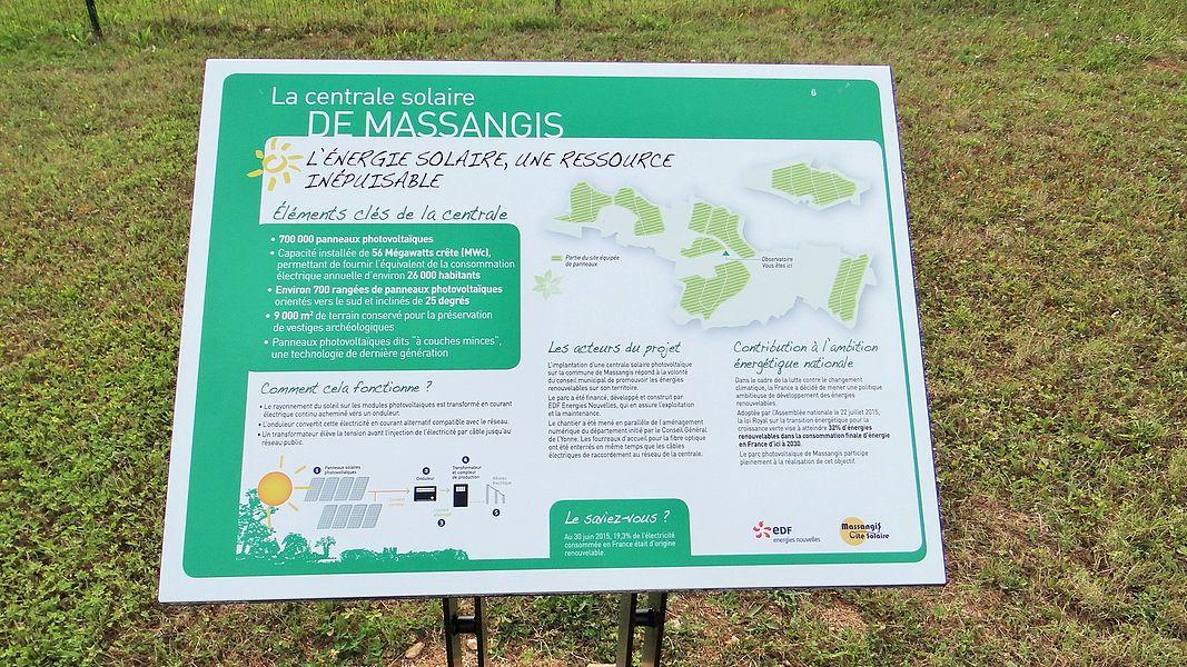 Centrale solaire de Massangis, panneau explicatif