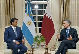 Tamim bin Hamad Al Thani - Hamad Al Thani with Argentinian president Mauricio Macri at the Presidential Residence of Olivos in Buenos Aires, July 2016.