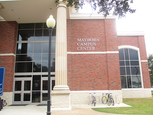 The Mayborn Campus Center is named for its benefactor, the late Temple Daily Telegram publisher, Frank W. Mayborn Mayborn Campus Center, UMHB, Belton, TX IMG 5552.JPG