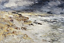 Painting of a sea shore in a rough weather.