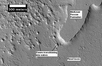 Amazonis quadrangle - Image: Medusae Fossae Remnant