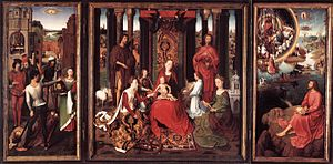 St John Altarpiece (Memling) - St John Altarpiece, c. 1479,  oil on oak panel, 173.6 × 173.7 cm (central panel), 176 × 78.9 cm (each wing), Memlingmuseum, Sint-Janshospitaal, Bruges
