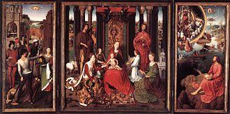 St John Altarpiece (Memling) - St John Altarpiece, c. 1479,  oil on oak panel, 173.6 × 173.7 cm (central panel), 176 × 78.9 cm (each wing), Memlingmuseum, Sint-Janshospitaal, Bruges