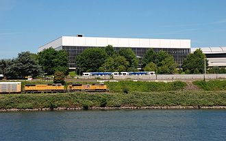 Veterans Memorial Coliseum (Portland, Oregon) - Southwest façade, viewed from across the Willamette River