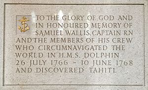 HMS Dolphin (1751) - Memorial to Samuel Wallis and the crew in Truro Cathedral