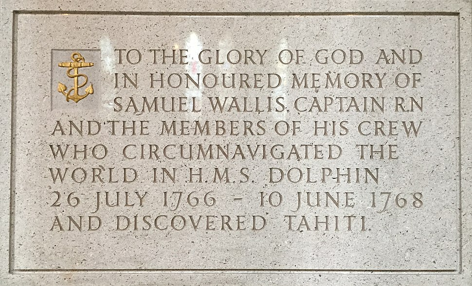 Memorial to Samuel Wallis in Truro Cathedral
