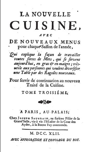 Nouvelle cuisine - Menon, La nouvelle cuisine (1742)