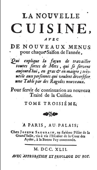 Menon, La nouvelle cuisine, 1742 -- cover page
