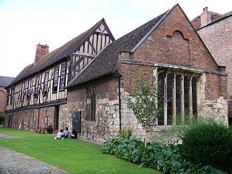 Merchant Adventurers' Hall - The medieval Merchant Adventurers' Hall seen from Piccadilly. On the right is the brick chapel; on the left the timber-frame construction of the upper storey can be seen.