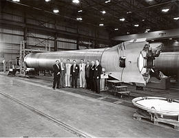 Mercury-Redstone booster at MSFC with officials.jpg