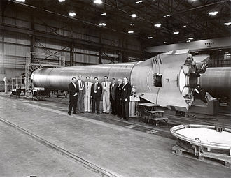 Mercury-Redstone Launch Vehicle - Image: Mercury Redstone booster at MSFC with officials