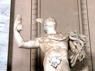 """Fig leaf - A statue of Mercury holding the caduceus in the Vatican, with a fig leaf placed over the genitalia. The fig leaf was placed there under the more """"chaste"""" Popes; later, most such coverings were removed."""