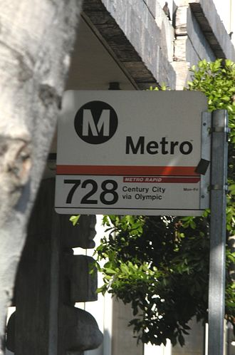 Olympic Boulevard (Los Angeles) - A Metro bus stop sign on Olympic Blvd.