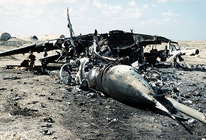 Iraqi Air Force - An Iraqi MiG-29 aircraft lies in ruins after it was destroyed by coalition forces during the Persian Gulf War's Operation Desert Storm.