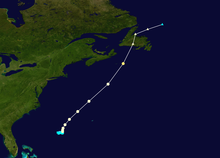 The path of a hurricane, it starts about half between Bermuda and the Bahamas, races toward Newfoundland and quickly becomes extratropical