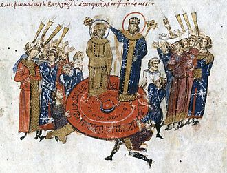 Michael I Rangabe - Coronation by the Patriarch, as depicted in the Madrid Skylitzes.