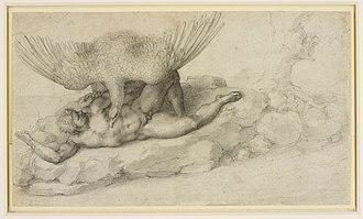 Tityos - Michelangelo, Punishment of Tityus, c. 1532