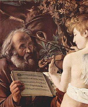 Sight-reading - Caravaggio's Rest on the Flight into Egypt (1594–96)