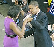 Michelle Obama and Barack Obama enjoy a victory fist pound upon winning the Democratic Nomination.jpg