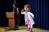 "Michelle Obama with Dottie ""Doc"" McStuffins, 2014.jpg"
