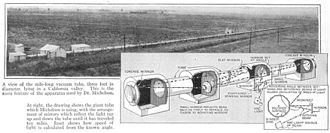 Speed of light - One of the last and most accurate time of flight measurements, Michelson, Pease and Pearson's 1930–35 experiment used a rotating mirror and a one-mile (1.6 km) long vacuum chamber which the light beam traversed 10 times. It achieved accuracy of ±11 km/s