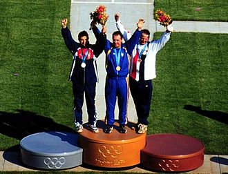 Mykola Milchev - Milchev (center) at the 2000 Olympics