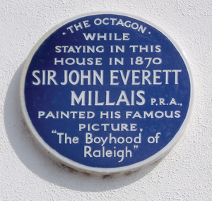 The Boyhood of Raleigh - Blue plaque in Budleigh Salterton commemorating Millais's creation of the painting