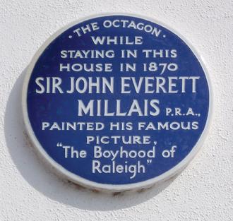 Budleigh Salterton - Blue plaque commemorating Sir John Everett Millais