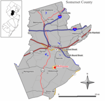 Map of Millstone in Somerset County. Inset: Location of Somerset County highlighted in the State of New Jersey.