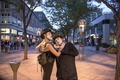 Mimes Mikki Weber, left, and Joseph A. Temple emote in the mile-long 16th Street mainly pedestrian mall in downtown Denver, Colorado LCCN2015633442.tif