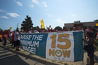 Minimum wage - Protest calling for raising the Minneapolis minimum wage to $15/hour. 12 September 2016