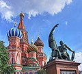 Minin and Pojarsky Monument in front of St Basils Cathedral - Moscow, Russia - panoramio.jpg