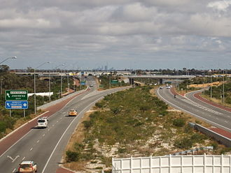 Mitchell Freeway - View south of Moore Drive