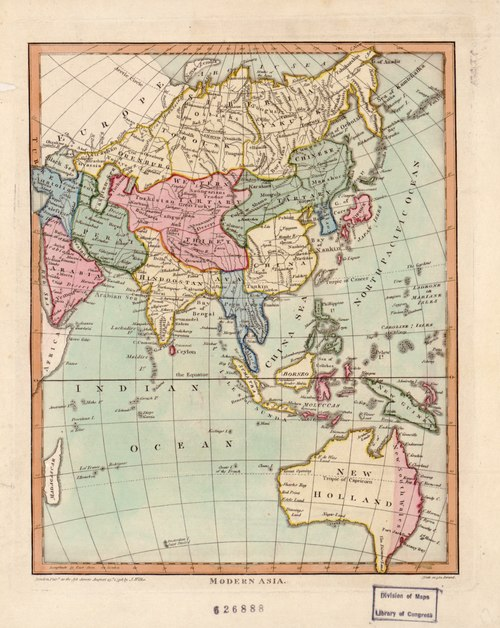The continent of Australia (then known as New Holland) was incorporated within Asia in this 1796 map. Modern Asia (1796).tif