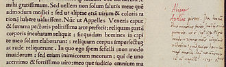 Mona Lisa - A margin note by Agostino Vespucci (visible at right) discovered in a book at Heidelberg University. Dated 1503, it states that Leonardo was working on a portrait of Lisa del Giocondo.