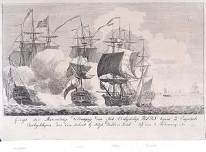 Action of 4 February 1781 - Stout defence of warship Mars against 3 English warships on 4 February 1781, NMM
