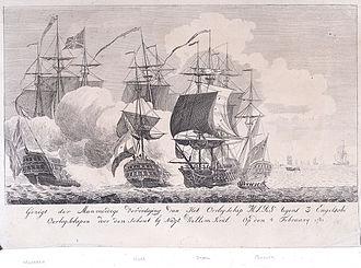 Action of 4 February 1781 - Stout defence of warship Mars against 3 English warships on 4 February 1781, NMM