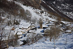 View of Moncenisio in winter