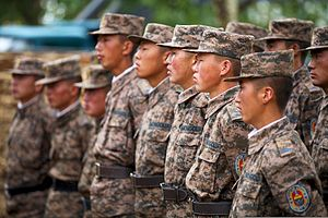 Mongolian Armed Forces engineers with the 017 Construction Regiment receive instructions before participating in Khaan Quest 2013 in Ulaanbaatar, Mongolia, July 22, 2013 130722-M-MG222-001