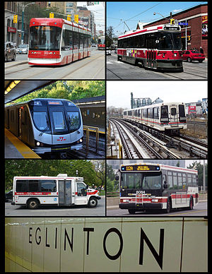 Toronto Transit Commission - From top-left, clockwise: A Flexity Outlook streetcar, a CLRV streetcar, an S-series rapid transit train, an Orion bus, wall tile signage at Eglinton station featuring the Toronto Subway typeface, a Wheel-Trans bus, and a Toronto Rocket subway train