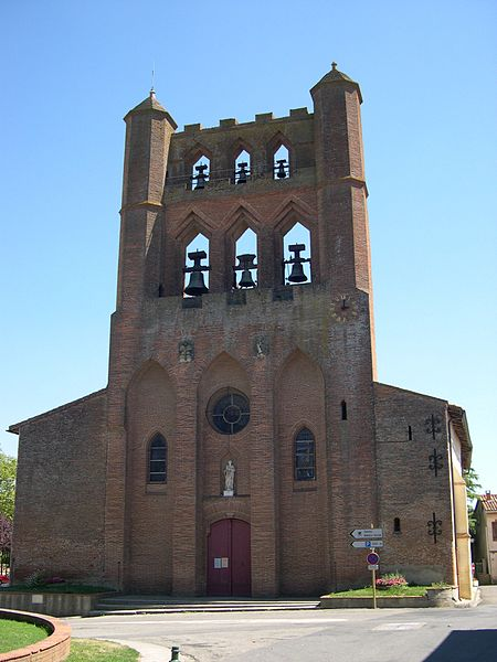 Bell tower of the church of Montgiscard (France).