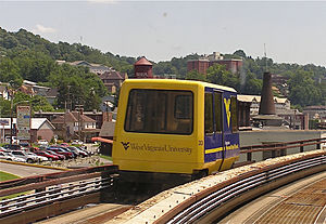 Morgantown Personal Rapid Transit - Morgantown PRT vehicle near Beechurst Avenue