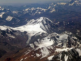 Tupungato stratovolcano located on the border between Argentina and Chile